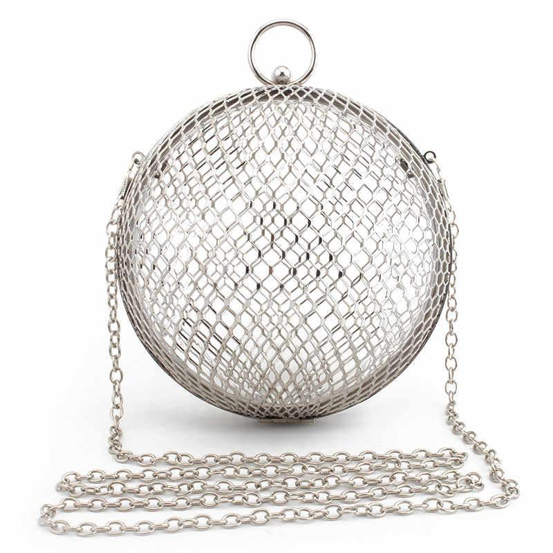 Винтажная Женская вечерняя сумка с металлической цепочкой, открытая мини-сумка для банкета, вечерние сумки на плечо и Сумка-клатч Кроссбоди круглая клетка, сумочка