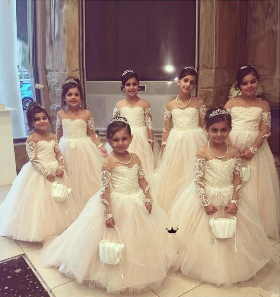 2019 Lovely White Ball Gown   Flower     Girl     Dresses   Jewel Neck Long Sleeve Toddler   Girls   Pageant Gowns Holy Communion   Dress