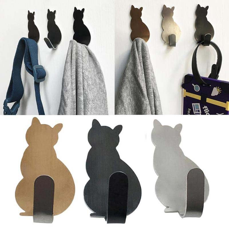 2pcs/set Kitchen Wall Door Metal Hook Key Hanger Cat Tail Shaped Decorative Holder Clothes Storage Rack Tool