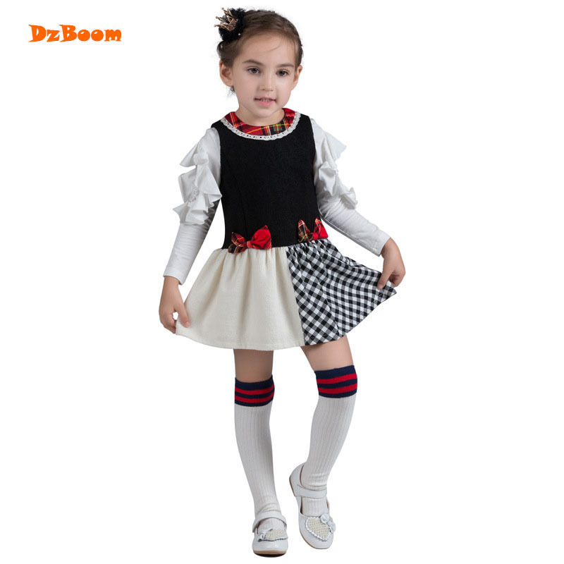 DzBoom 2017 Cute Princess Girls Dress Cotton Gowns Children Sleeveless Dress Autumn Winter Loose Casual Plaid Girl Dresses 2016 new girls clothes 100% cotton cute pink gray lace dress for the girl princess dress art bowknot sleeveless dress