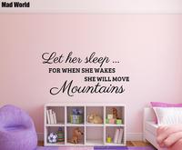 Mad Wereld-Ze wekt zal ze bewegen bergen Wall Art Stickers Muurtattoo Thuis DIY Decoratie Verwijderbare Room Decor Muurstickers