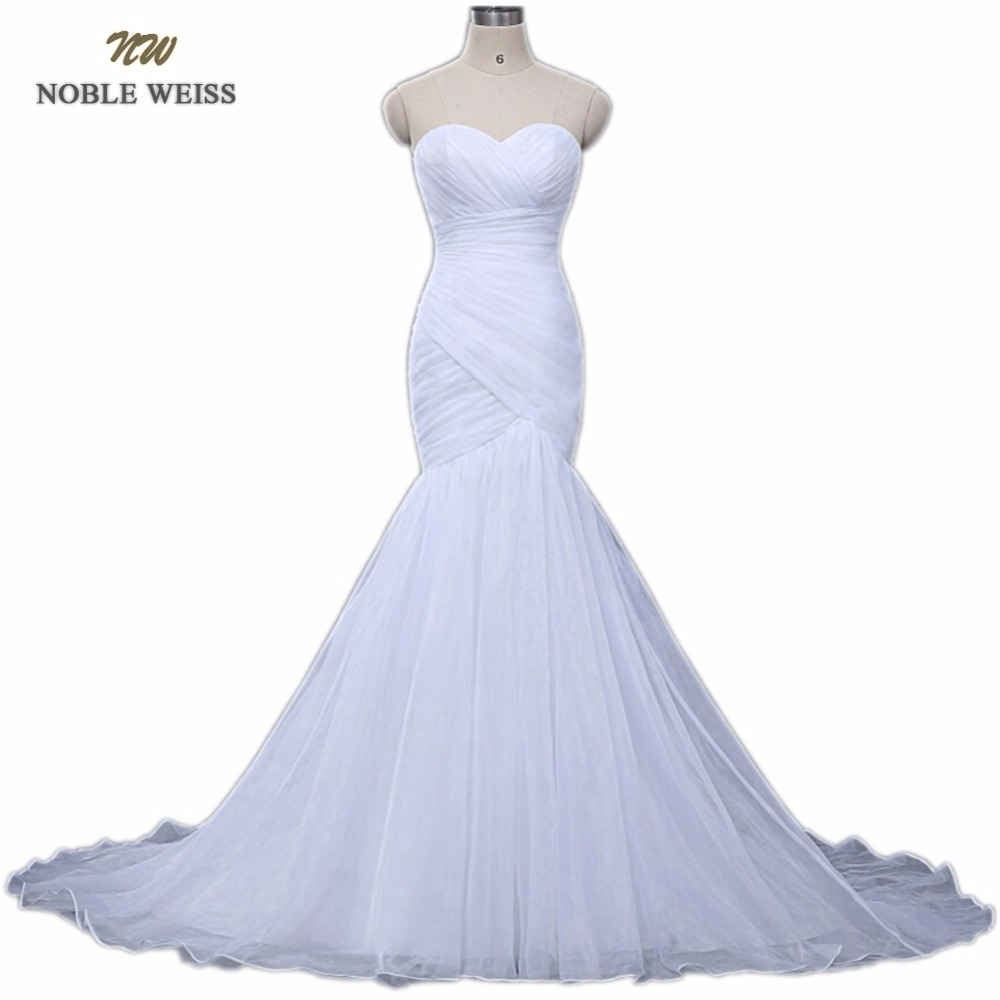 NOBLE WEISS In Stock Sweetheart Pleated Organza Trumpet Mermaid Lace up Back Wedding Dress Bridal Gown Free Shipping 0921-in Wedding Dresses from Weddings & Events