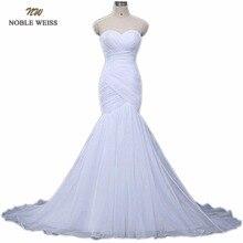NOBLE WEISS w magazynie Sweetheart plisowana Organza trąbka syrenka sznurowane powrót suknia ślubna suknia ślubna darmowa wysyłka 0921