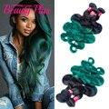 7A ombre pacotes tecer cabelo brasileiro 1b/raízes escuras verde floresta verde 4 pacotes onda do corpo brasileiro onda do corpo cabelo brasileiro