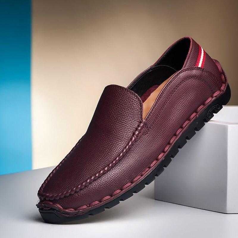 2019 Sapatos Dividir Negócios Apartamentos Homens De Couro Respirável 6822 Masculinos Moda Preto Mocassins Genuíno Vestido 6822 Partido Casuais Qualidade Alta xYqrY0aO
