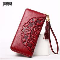 NAISIBAO 2017 New Genuine Leather Bag Women Long Zipper Wallets Brands Quality Fashion Women Purse Retro