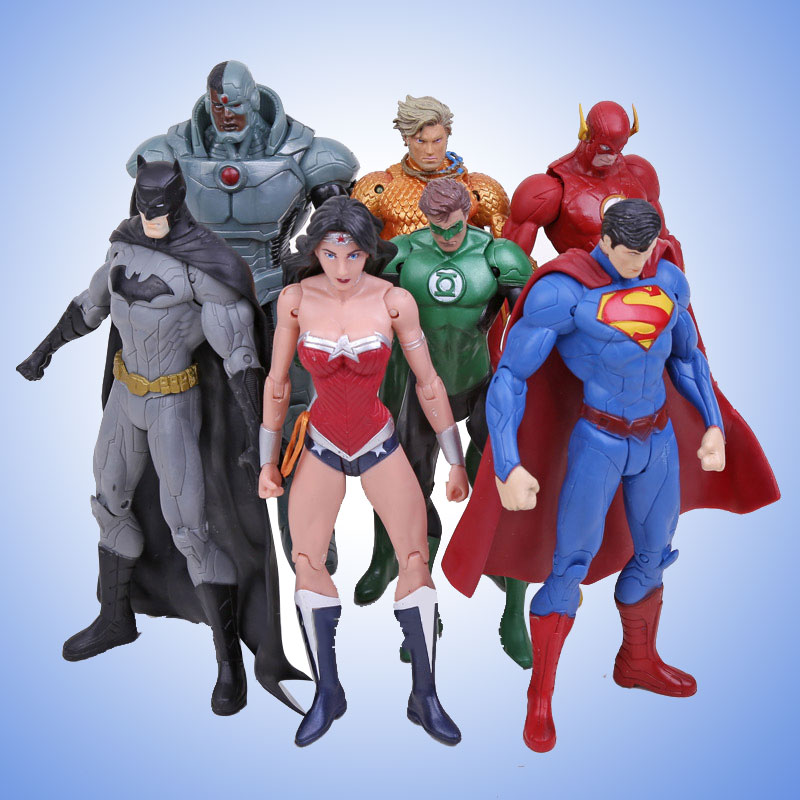 Free Shipping 7PCS Multicolor PVC Movable Justice League Dark  Mobile Hero Doll Action Figure