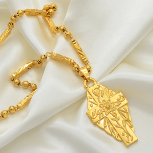 Image 5 - Anniyo Hawaii Flower Gold Color Cross Pendant Ball Beads Chain Necklaces Habesha Micronesia Chuuk Marshall Jewelry #198106P
