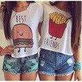Nuevo 2016 Summer Best Friends camiseta Mujeres Hamburguesa Papas fritas Impresa Manga Corta camiseta de las mujeres Hermosas Mujeres Tops S-XL