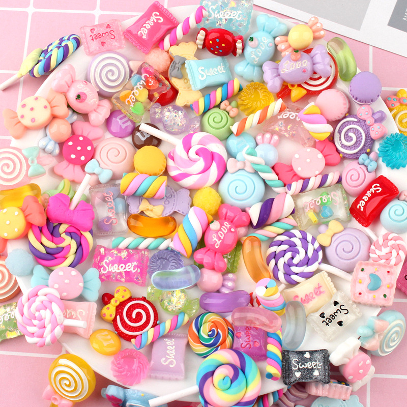 10Pcs DIY Crystal Slime Supplies Accessories Phone Case Decoration For Slime Filler Miniature Resin Cake Flowers Candy Chocolate
