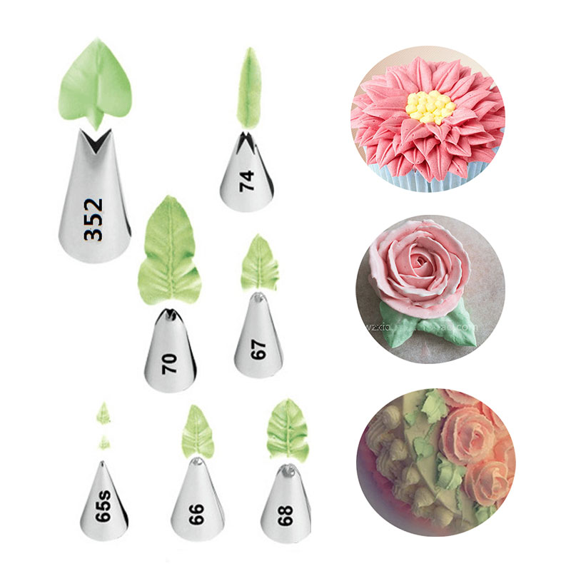 7 st / set Leaves Cream Metal Tips Rostfritt Stål Icing Piping Dyser Cake Cream Dekorerar Cupcake Pastry Verktyg