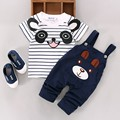 2016 Summer Toddler Boys Clothing Set Cartoon Panda Baby Boys Short-sleeve T-shirt+Bib Pants 2pcs Set Kids Clothes for 1-4Y
