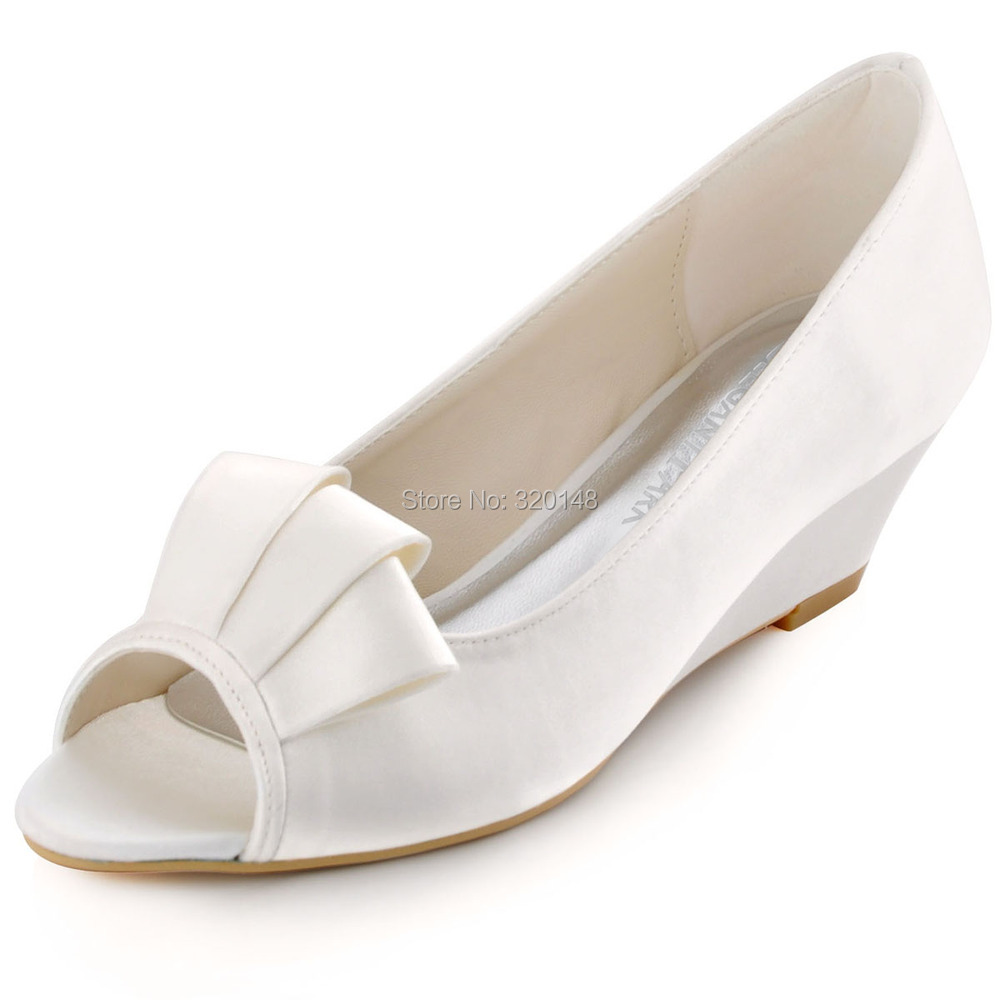 Summer Woman Shoes WP1518 Size 38 Peep Toe White Ivory Ruffle Satin Mid heel Heel Wedding Bridal Wedges Prom party dress Pumps comfortable satin dress shoes hoof heel bridal wedding party prom evening pumps mid heel red royal blue champagne white ivory