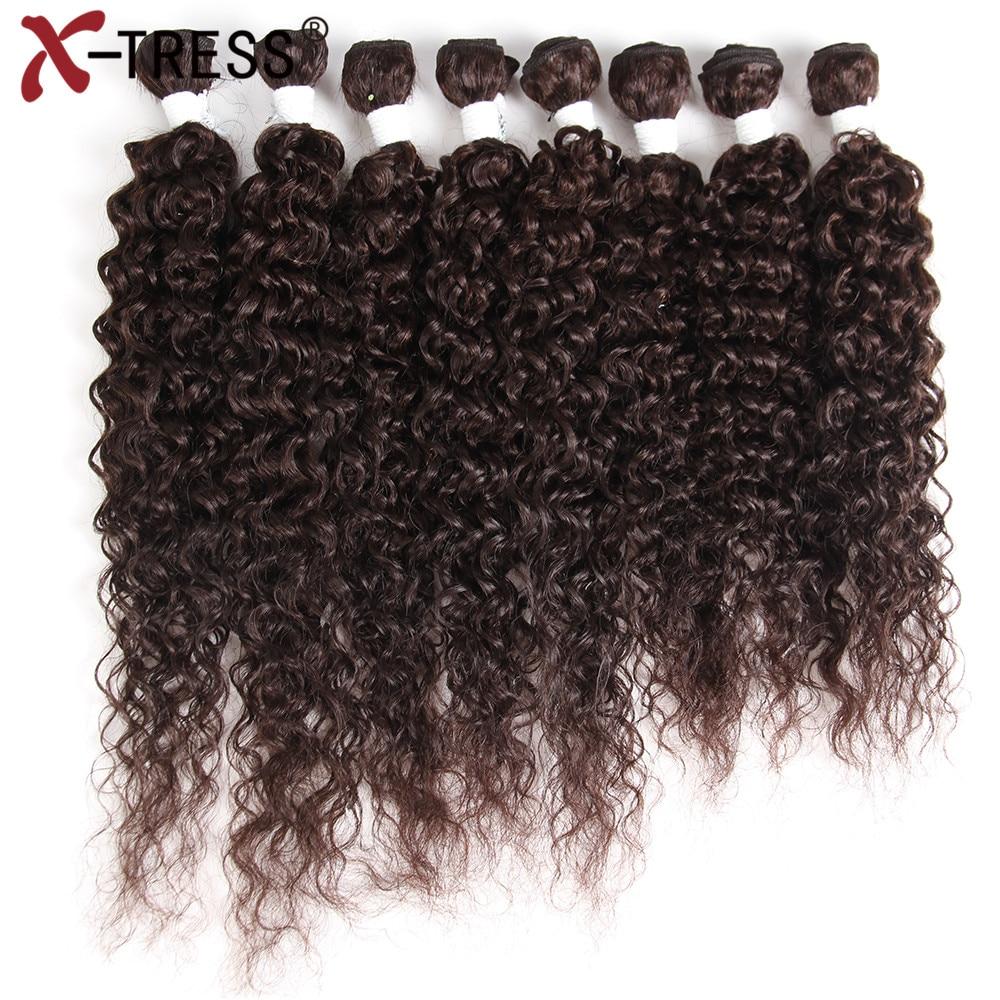 X TRESS 16 20 Kinky Curly Hair Weaves Kanekalon High Temperature Fiber Synthetic Hair Bundles Sew in hair Extensions 8pcs/pack