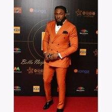 Elegant Orange double Breasted Men Suit 2018 Custom Wedding Tuxedos Groom Suits For Business Office Wear (Jacket+Pants)