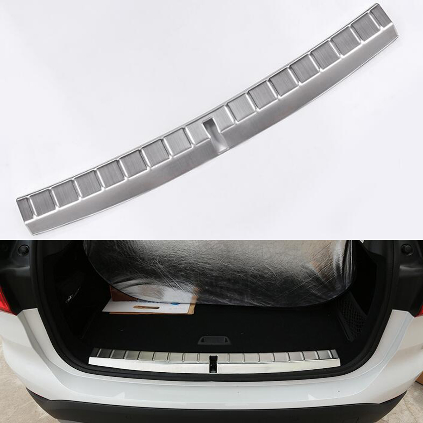 YAQUICKA Auto Stainless Steel Car Trunk Rear Inside Door Bumper Protector Sill Scuff Plate Cover Trim For BMW X1 2016 Mouldings 1 piece stainless steel rear trunk sill rear inner scuff protector cover plate for mazda cx 5 cx5 2nd gen 2017 2018 accessories