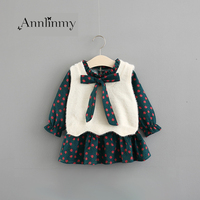 spring autumn 2018 girls set cute print bow Ruffle dress baby 2pcs solid o neck sleeveless sweater girl pullover for 0 2 age set