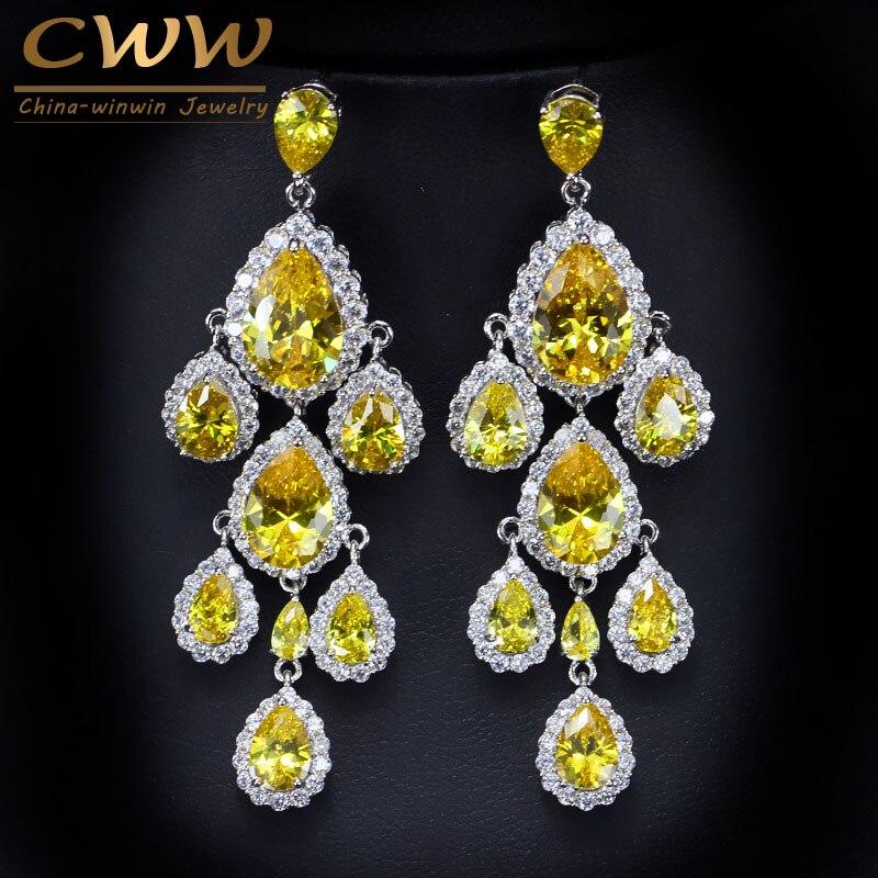 Cwwzircons Bohemia Style Yellow Cubic Zirconia Stones Large Long Drop Dangle Wedding Earring Bridal Costume Jewelry Cz145