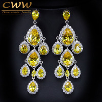 CWWZircons Gorgeous Bridal Long Chandelier Earrings Jewelry Water Drop Yellow Cubic Zirconia Crystal Wedding Earing CZ093