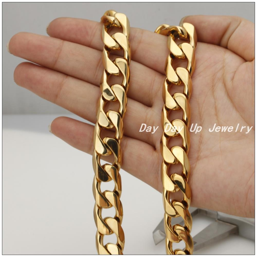8~40 14.6mm Customized Size Charming 316L Stainless Steel Gold Cuban Curb Chain Men's Boy's Necklace&Bracelet Bangle