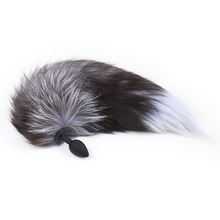 28mm Thick Wolf fur fox tail with silicone anal dildo animal butt plug SM adult game