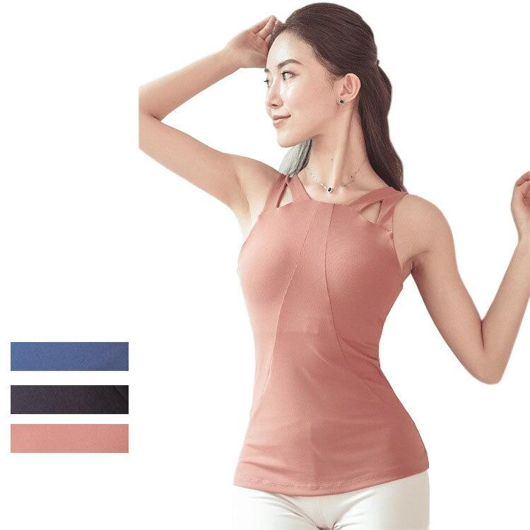 @1  Женское плечо сексуальное полое упражнение йоги Футболка без рукавов Красивая подтягивающая талия на ①