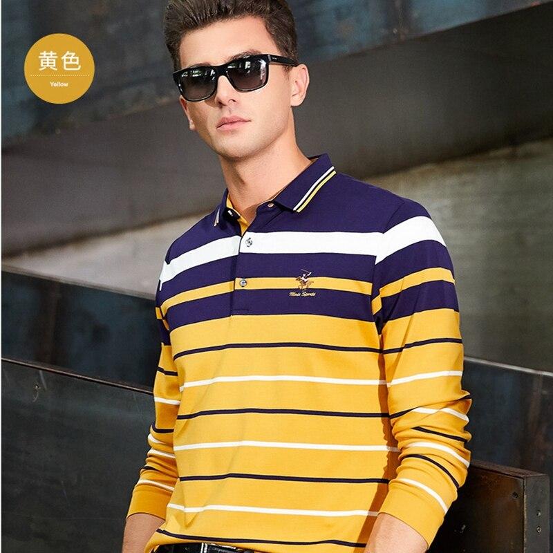 Automne hiver à manches longues hommes polo chemise coton rayé mode affaires décontracté homme camisa grande taille XXXL homme vêtements 8810