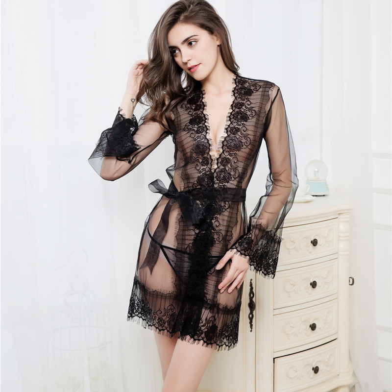 TERMEZY New Sexy Women   Nightgowns   &   Sleepshirts   Solid Lace Transparnet Hollow Out Dress Lace Lingerie Sex Erotic Underwear