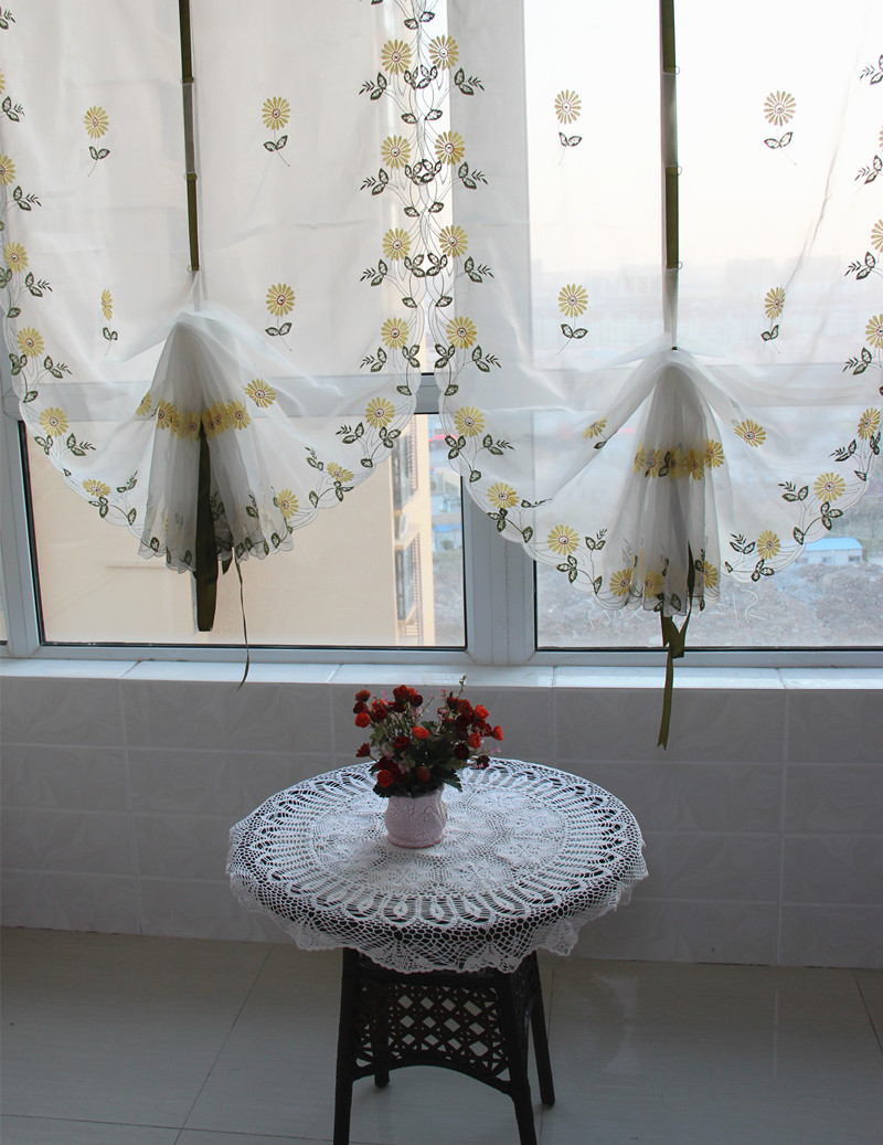 Sheer balloon curtains - Zhh Hot Selling Balloon Curtains Embroidered Roman Curtain Blinds For Window Embroidered Sheer Tulle Home Decor
