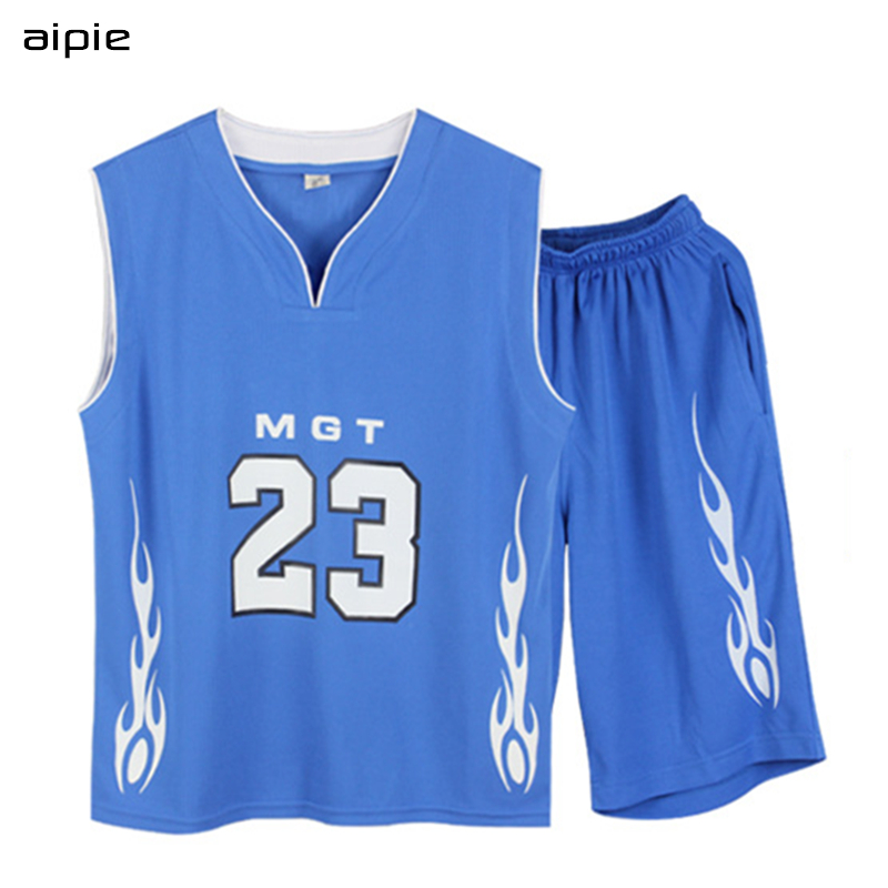 все цены на aipie Promotion Children Boy's Sport Sets Fashion Patchwork Color Printing Letters Basketball Suits For 9-16 years kids boys онлайн