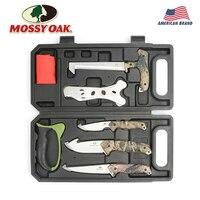 MOSSY OAK 8PC Tool Set Hunting Tools Knives Saw Sharpener Latex Gloves Skeleton Field to Freezer Hunt Processing Set