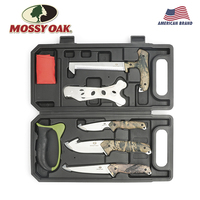 MOSSY OAK 8PC Tool Set Hunting Tools Knives Saw Sharpener Latex Gloves Skeleton Field to Freezer Hunt Processing Set
