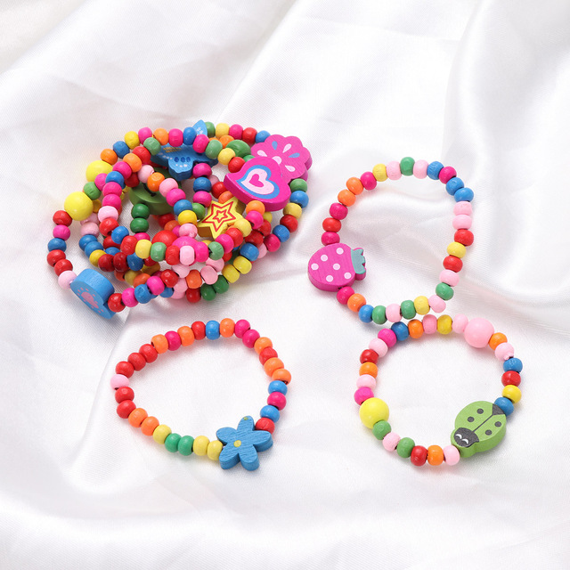10pcs Natural Wood Kids Elastic Wooden Beads Bracelets Children Girls Party Gift (Random Color) 5