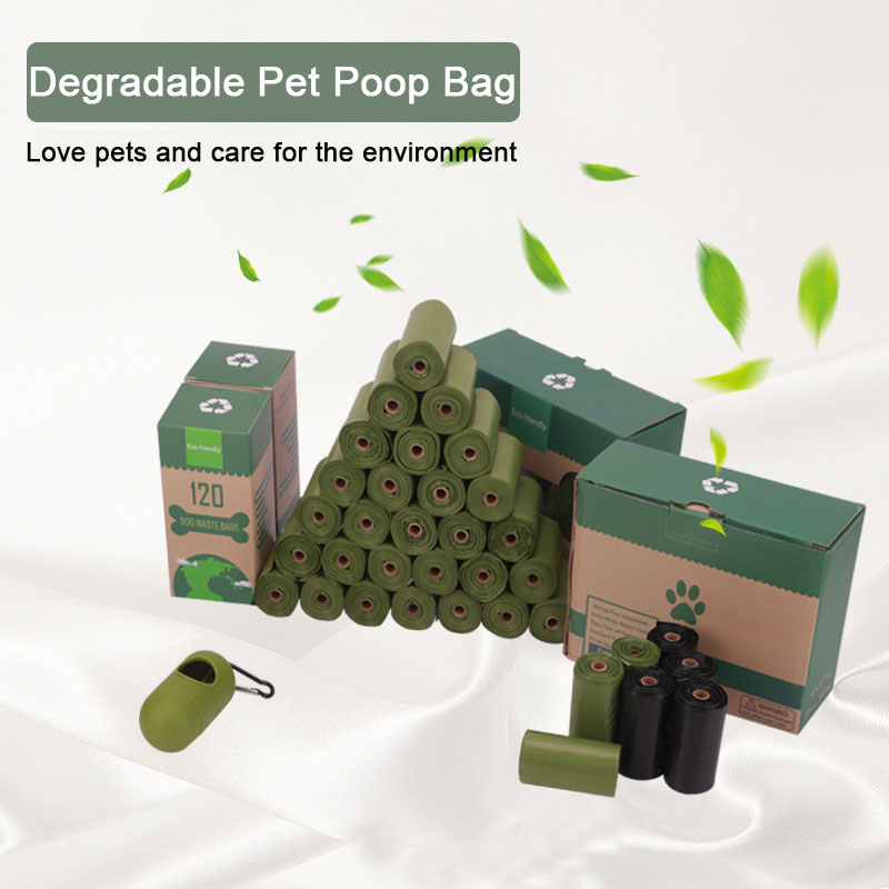 Degradable Pet Poop Bag Portable Garbage Bag Biodegradable Dog Waste Bags Dog Walking Supplies Pick-up Dispenser Rounded For Cat