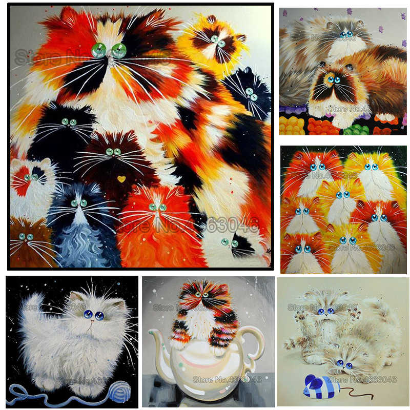 Round/Square hand crafts colorful cats diy embroidery pattern resin mosaic animal 5D diy diamond painting 3d cross stitch kits