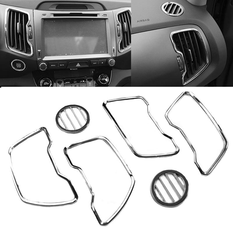 JEAZEA 6pcs Car Chrome Steering Wheel Air Vent Cover Trim Kit Left Hand Driver For Kia