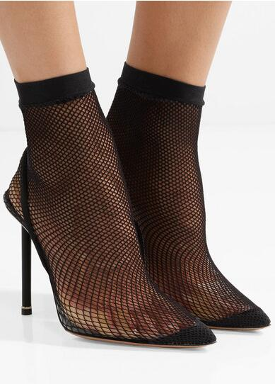 New Designer Black Net Hollowed Sock Boots Women Pointed Toe PVC Transparent Fashion Long Boots High Quality Runway Shoes - 4