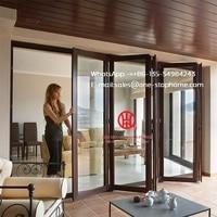 latest saving space option balcony aluminium folding glass door,Aluminium Double Glass Sliding Folding Door for Entrance