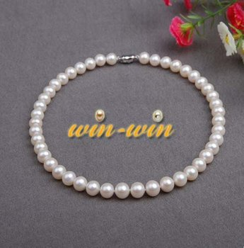 FREE SHIPPING AAA Best Standard Nice Luster 9-10mm Natural Freshwater Pearl Necklace Nice Gift for Hot Christmas Promotion!!!