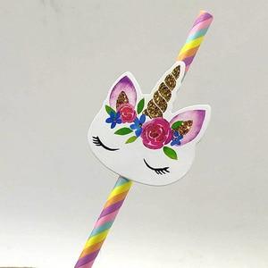 Image 4 - 20pcs Cartoon Unicorn Rainbow Paper Straws For Baby Shower Wedding Party Birthday Decoration Supplies Paper Drinking Straws