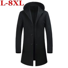 8XL 7X Autumn Winter British style men's wool coat New design Long trench coat Brand Clothing Top quality hooded woolen coat men top quality decent style long sleeve hooded woolen coat for men
