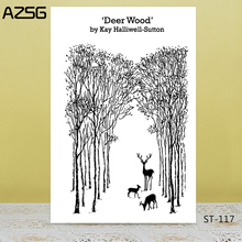 AZSG The Deer In Forest Clear Stamps/Seals For DIY Scrapbooking/Card Making/Album Decorative Silicone Stamp Crafts