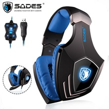SADES A60 Gaming Headset headband over ear USB 7.1 Surround Sound Vibration Headphones Earphones with Mic for PC Game macchia j свитер