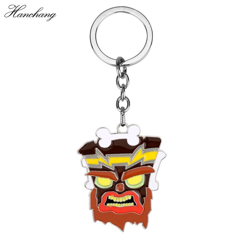 HANCHANG Hot Online Game Crash Bandicoot Game Keychain Jewelry Cartoon Figure Model Pendant Keyring Key Chains for Men Bags Gift