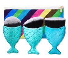 3Pcs Mermaid Shaped Makeup Brush Set Big Fish Tail Foundation Powder Eyeshadow Make-up Brushes Contour Blending Cosmetic Brushs