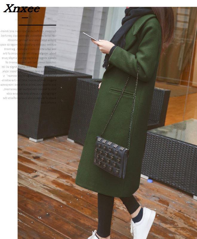 Manteaux Green Bouton En Mélangée Femmes marron Unique Xnxee À kaki army Noir Cachemire Veste Laine Dames Taille Large Manteau Élégant PgOxUt