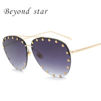 Beyond Star Vintage Pilot Sunglasses Men Women Oval Mirror Lens Classic Driving Glasses Fashion Anti Reflective