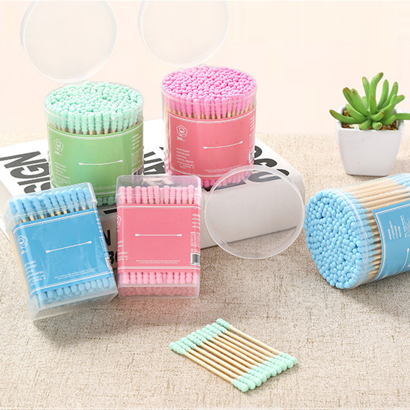 200pcs/Lot Bamboo Handle Stick Cotton Swabs Candy Color Thread Dual-head Cotton Swabs Stick Makeup Tools Personal Hygiene Care