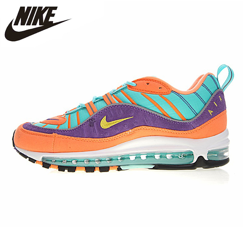 NIKE AIR MAX 98 QS chaussures de course pour hommes, antidérapant bleu & violet & Orange, Absorption des chocs vêtements respirants-résistant 924462 800