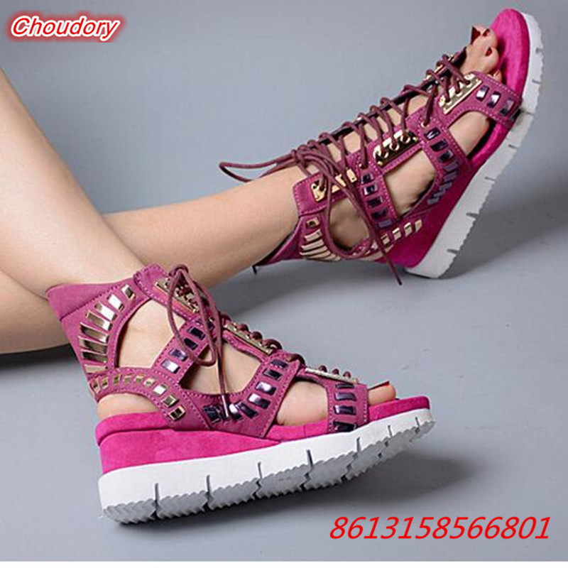 Wedges Belly Button Women Sandals Lace-Up Punk Rivet Female Gladiator Shoes Hollowed Out Open Toe Platform Women Casual Sandals women sandals shoes 2017 summer shoes woman gladiator wedges cool fashion rivet platform female ladies casual shoes open toe
